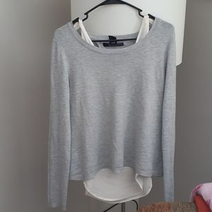 Gray and cream colored dress top #w10
